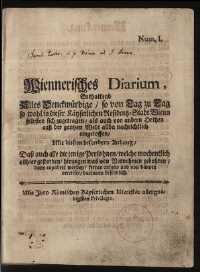 Titelseite der Ausgabe Nr. 1, [2.–7. August 1703]