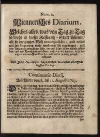 Titelseite der Ausgabe Nr. 2, 8.–11. August 1703