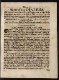 Titelseite der Ausgabe Nr. 3, 11.–15. August 1703