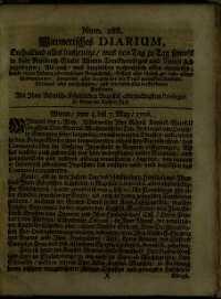 Titelseite der Ausgabe Nr. 288, 5.–7. Mai 1706