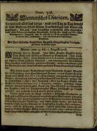 Titelseite der Ausgabe Nr. 526, 15.–17. August 1708