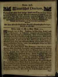 Titelseite der Ausgabe Nr. 918, 18.–20. Mai 1712