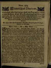 Titelseite der Ausgabe Nr. 919, 21.–24. Mai 1712