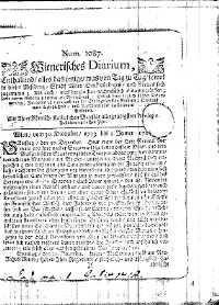 Titelseite der Ausgabe Nr. 1087, 30. Dezember 1713–2. Jänner 1714