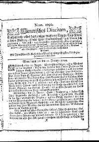 Titelseite der Ausgabe Nr. 1090, 10.–12. Jänner 1714