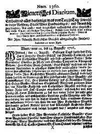 Titelseite der Ausgabe Nr. 1360, 12.–14. August 1716