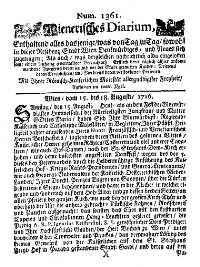 Titelseite der Ausgabe Nr. 1361, 15.–18. August 1716