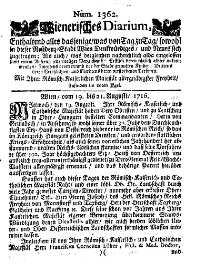 Titelseite der Ausgabe Nr. 1362, 19.–21. August 1716