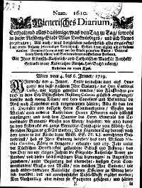 Titelseite der Ausgabe Nr. 1610, 4.–6. Jänner 1719