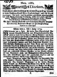 Titelseite der Ausgabe Nr. 1662, 5.–7. Juli 1719