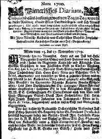 Titelseite der Ausgabe Nr. 1700, 15.–17. November 1719