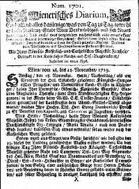 Titelseite der Ausgabe Nr. 1701, 18.–21. November 1719