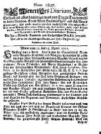 Titelseite der Ausgabe Nr. 1847, 12.–15. April 1721