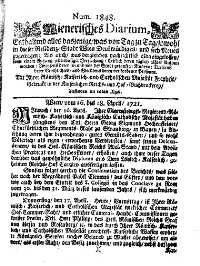 Titelseite der Ausgabe Nr. 1848, 16.–18. April 1721