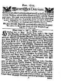 Titelseite der Ausgabe Nr. 1855, 10.–13. Mai 1721