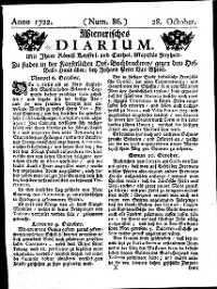 Titelseite der Ausgabe Nr. 86, 28. Oktober 1722
