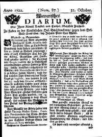 Titelseite der Ausgabe Nr. 87, 31. Oktober 1722