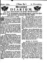 Titelseite der Ausgabe Nr. 89, 7. November 1722