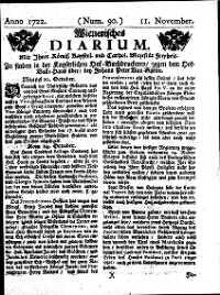 Titelseite der Ausgabe Nr. 90, 11. November 1722