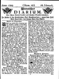 Titelseite der Ausgabe Nr. 17, 28. Februar 1725