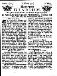 Titelseite der Ausgabe Nr. 35, 2. Mai 1725