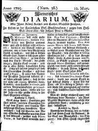 Titelseite der Ausgabe Nr. 38, 12. Mai 1725