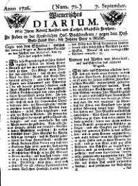 Titelseite der Ausgabe Nr. 72, 7. September 1726