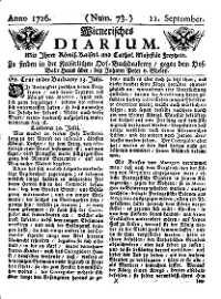 Titelseite der Ausgabe Nr. 73, 11. September 1726