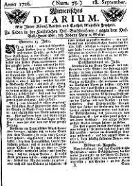 Titelseite der Ausgabe Nr. 75, 18. September 1726