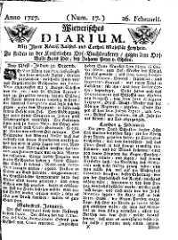 Titelseite der Ausgabe Nr. 17, 26. Februar 1727