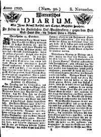 Titelseite der Ausgabe Nr. 90, 8. November 1727