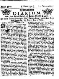 Titelseite der Ausgabe Nr. 91, 12. November 1727