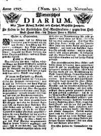 Titelseite der Ausgabe Nr. 92, 15. November 1727