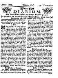 Titelseite der Ausgabe Nr. 93, 19. November 1727