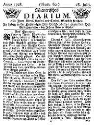 Titelseite der Ausgabe Nr. 60, 28. Juli 1728