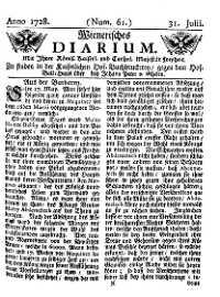 Titelseite der Ausgabe Nr. 61, 31. Juli 1728