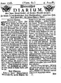Titelseite der Ausgabe Nr. 62, 4. August 1728