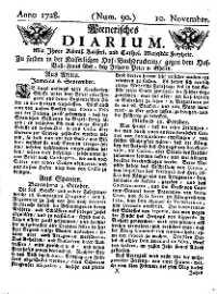 Titelseite der Ausgabe Nr. 90, 10. November 1728