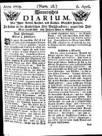 Titelseite der Ausgabe Nr. 28, 6. April 1729