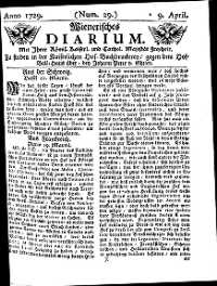 Titelseite der Ausgabe Nr. 29, 9. April 1729