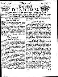 Titelseite der Ausgabe Nr. 30, 13. April 1729