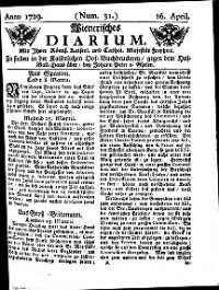 Titelseite der Ausgabe Nr. 31, 16. April 1729