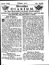 Titelseite der Ausgabe Nr. 32, 20. April 1729