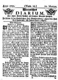 Titelseite der Ausgabe Nr. 23, 22. März 1730