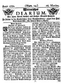 Titelseite der Ausgabe Nr. 24, 25. März 1730