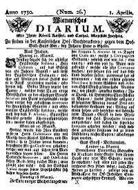 Titelseite der Ausgabe Nr. 26, 1. April 1730