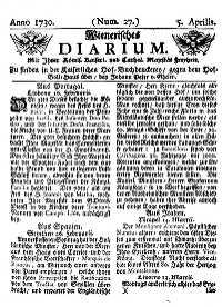 Titelseite der Ausgabe Nr. 27, 5. April 1730