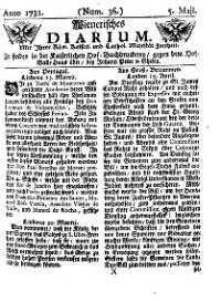 Titelseite der Ausgabe Nr. 36, 5. Mai 1731