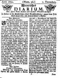Titelseite der Ausgabe Nr. 96, 1. Dezember 1731