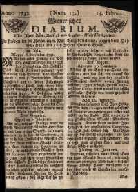 Titelseite der Ausgabe Nr. 13, 13. Februar 1732